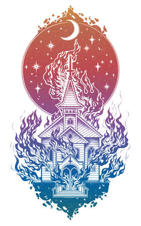 Burning church flash tattoo dot work art. Religious chapel fire arson over moon sky. Metaphor for unholy ritual, denial of God. Dark occult symbol.