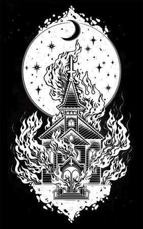 Burning church flash tattoo dot work art. Religious chapel fire arson over moon sky. Metaphor for unholy ritual, denial of God. Dark occult symbol.
