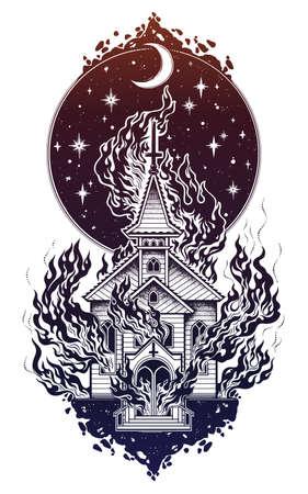 Burning Church flash tattoo dot work art vector illustration