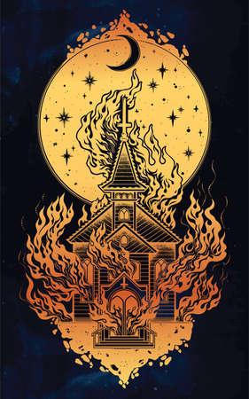 Burning Church with moon flash tattoo dot work art vector illustration Illustration