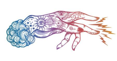 Inked hand, magic hypnosis lightning beam drawing vector illustration Illustration