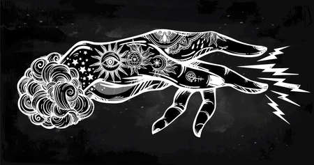 Inked hand, magic hypnosis lightning beam drawing.