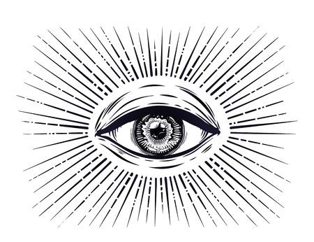 모든 보는 눈 기호. 섭리의 눈. 스톡 콘텐츠 - 92337844