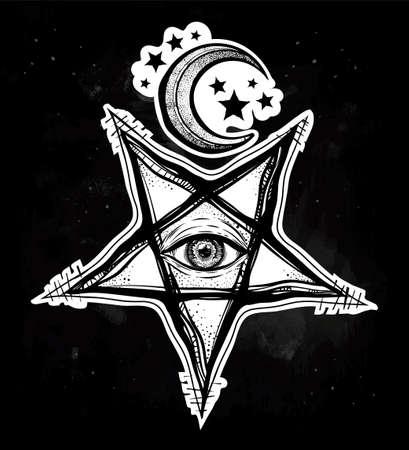 All seeing eye in reverse pentagram symbol on black background.