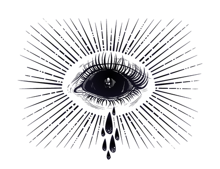 Black empty evil eye crying watery tears illustration.
