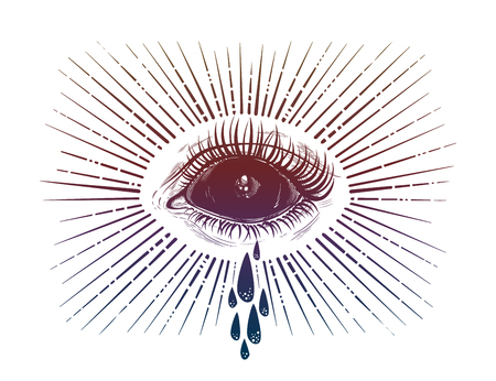 Black empty evil eye crying watery tears illustration.