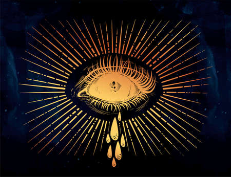 Black empty evil eye crying watery tears. Sadness look. Alchemy, religion, spirituality, occultism, tattoo art. Isolated vector illustration. Conspiracy theory. Decorative drawing in flash style.
