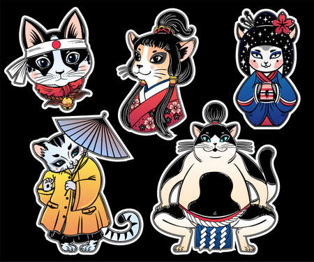 Set of flash style Japanese Cat oriental patches or elements. Traditional asian kitten stickers, comic pins. Pop art items. Pop collection, accessory kit. Colorful kitten designs. Isolated vector art.
