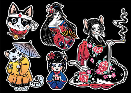 Set of flash style Japanese Cat patches, stickers.