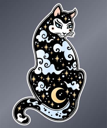 Flash style Japanese Cat patch, sticker.
