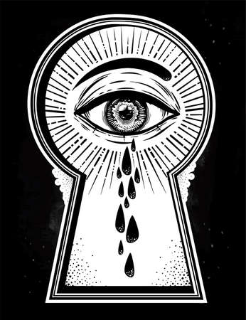 Crying teary mystic eye peeping through the keyhole. Graphic outline drawing in Noir retro style. Isolated vector illustration. Vintage, t-shirt, secrets, tattoo, coloring books. Trendy print.