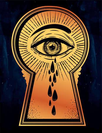 Crying teary mystic eye peeping through a keyhole. Illustration