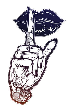 Human girl tattooed hand with hush silence sign and lady lips. Secret. Flash tattoo artwork. Illustration