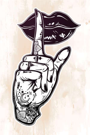 Human girl tattooed hand with hush silence sign and lady lips. Secret. Flash tattoo artwork. Template for card, poster, print for t-shirt. Stop talking. Mouth shut. Vector illustration isolated.