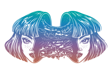 Radioactive zombie girl with a head full of slime vector illustration