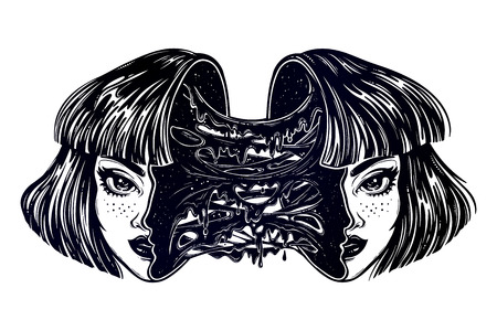Portriat of the radioactive human zombie girl with a head open and full of slime goo. Creepy sci-fi, tattoo art. Isolated vector illustration. Trendy T-shirt print. Halloween, weird spooky sticker.