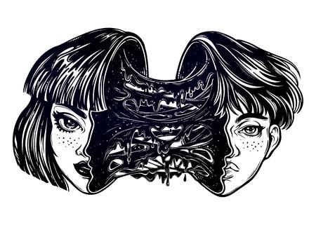 Portriat van het radioactieve menselijke buitenaardse meisje dat een jongen wordt met een hoofd vol slijm. Verandering van identiteit. Griezelige sci-fi, tattoo-kunst. Geïsoleerde vector illustratie. T-shirt print, sticker. Stock Illustratie