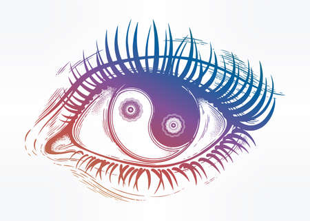 Beautiful eye with pupil as Yin and Yang symbol. Illustration