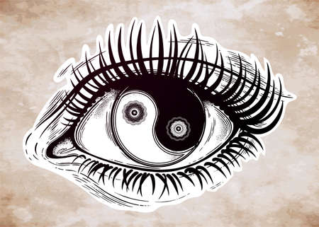 Beautiful realistic eye of a human girl with highly detialed pupil and iris as Yin and Yang boho symbol. Isolated vector illustration. Emotional expression, sticker, tattoo art. Trendy print.