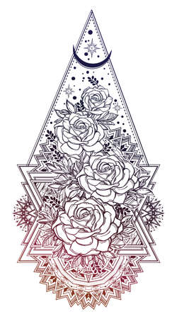 Decorative ornate floral frame with Rose flowers.