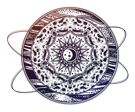Planet with space geometry mandala moon inside.