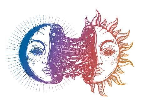Moon crescent turning into black sun full of slime goo. Decadence eclipse. Creepy sci-fi, tattoo art. Isolated vector illustration. T-shirt print. Sad emotions. Halloween, weird spooky sticker.