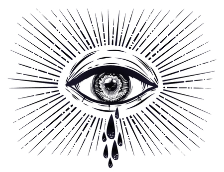 All seeing eye crying watery tears. Sadness look. Vector illustration.
