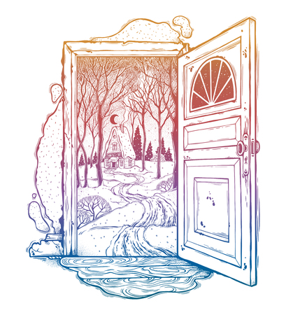 Open door into a nature, doorway with wood cabin. Stock Photo