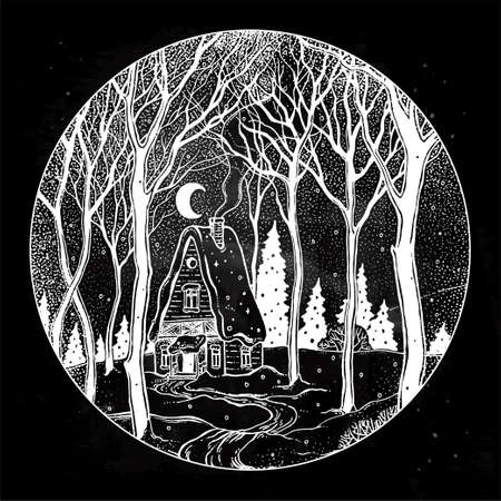 Round composition of a cabin in forest landscape encircled in a black backdrop.