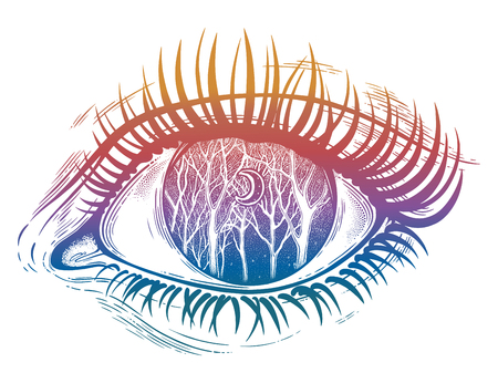 Beautiful realistic psychedelic eye of a human girl woodland winter night tree twigs scenery with crescent moon, forest night sky. Tattoo, magic outdoors, mystic night. Isolated vector illustration. Иллюстрация