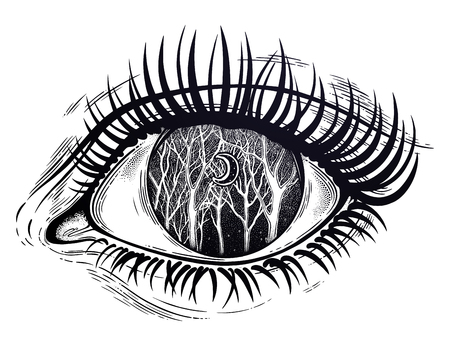 Beautiful realistic psychedelic eye of a human girl woodland winter night tree twigs scenery with crescent moon, forest night sky. Tattoo, magic outdoors, mystic night. Isolated vector illustration. Ilustracja