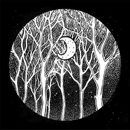 Woodland night tree scenery with crescent moon illustration