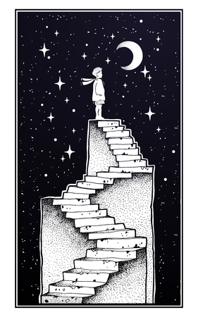 Abandoned ruin stairway with a boy looking at moon Vector illustration Stock Illustratie
