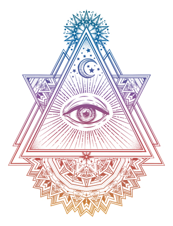 Triangle composition with sacred geometry eye. Vision of God Providence. Alchemy, religion, spirituality, occultism art. Isolated vector illustration. Conspiracy theory. Drawing in flash tattoo style. Stock Illustratie