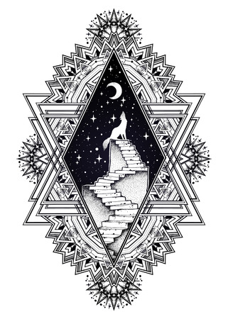 Decorative ornate frame, stairway to the sky, wolf Иллюстрация