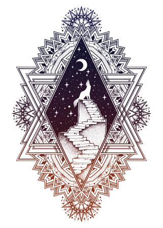 Decorative ornate frame, stairway to the sky, wolf Illustration