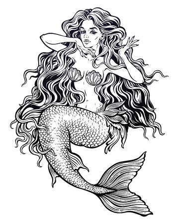 Beautiful mermaid girl with fairytale hair art. Ilustração