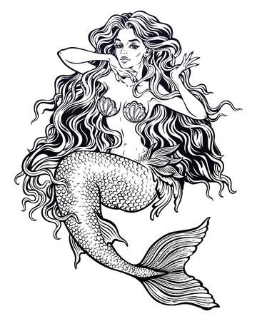 Beautiful mermaid girl with fairytale hair art. Stock Illustratie