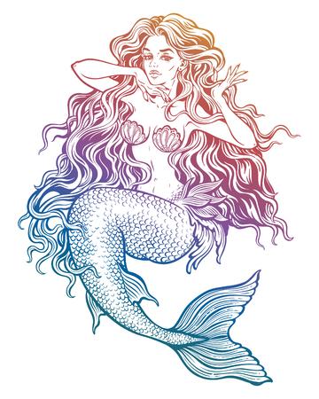 Beautiful mermaid girl with fairytale hair art.  イラスト・ベクター素材