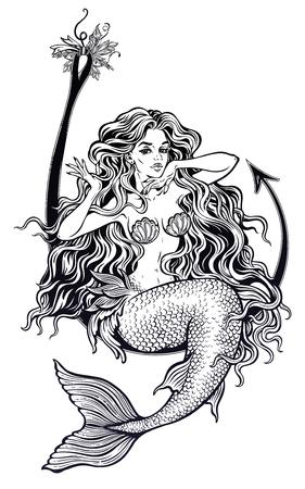 Mermaid girl sitting on fishing hook artwork. Vector illustration. Illustration