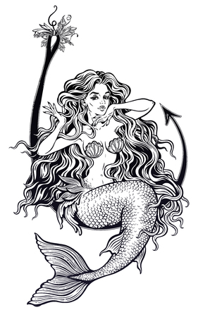 Mermaid girl sitting on fishing hook artwork. Vector illustration. Stock Illustratie