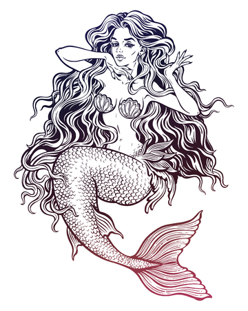 Beautiful mermaid girl with fairytale hair art. Çizim