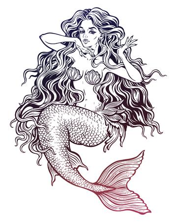 Beautiful mermaid girl with fairytale hair art. Vettoriali
