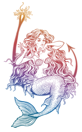 Mermaid girl assis sur les costumes de pêche de pêche Banque d'images - 97522508