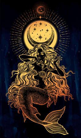 Mermaid girl with fairytale hair with stars, moon. Illustration