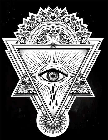 Triangle composition with sacred eye crying tears. Vector illustration. Illustration