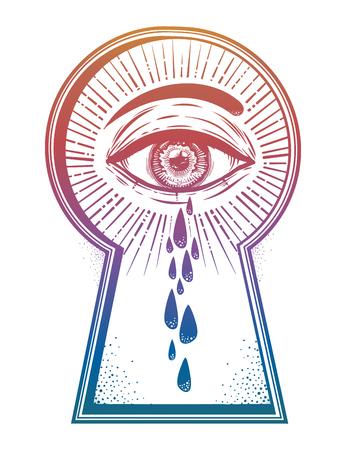 Crying teary mystic eye peeping through a keyhole. Good for t-shirt design