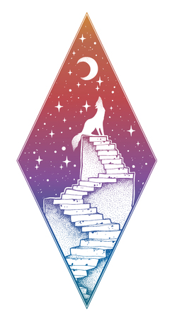 Abandoned ruin stairway to the night, howling wolf Illustration