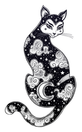 Japanese Cat double exposure with moon and sky illustration.