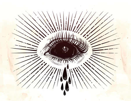 Black empty evil eye crying watery tears. Illustration